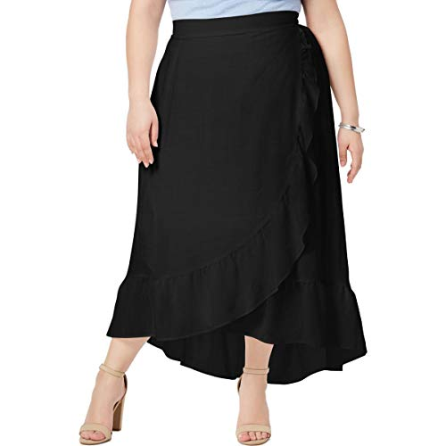 NY Collection Plus & Petite Plus Size Ruffled Wrap Skirt (Black, 1XP)
