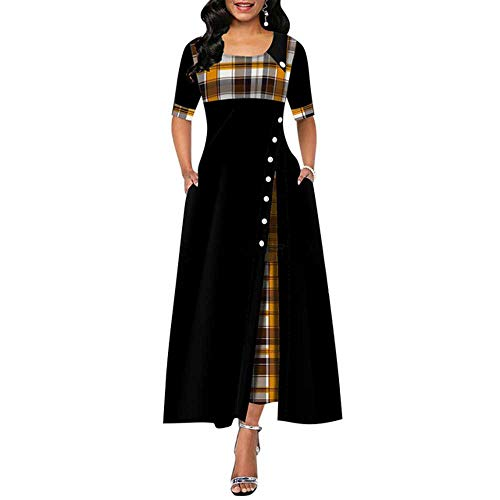 Elegante Vestido Largo Mujer Primavera Plaid Print Party Dress Irregular Vintage Dresses Ladies Button 2020 Nuevo…