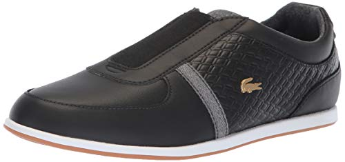(Lacoste Women's Rey Slip Sneaker Black/Grey Leather 8.5 Medium)