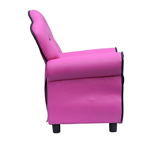 HomCom Kids PU Leather Riveted Sofa Recliner Chair - Rose