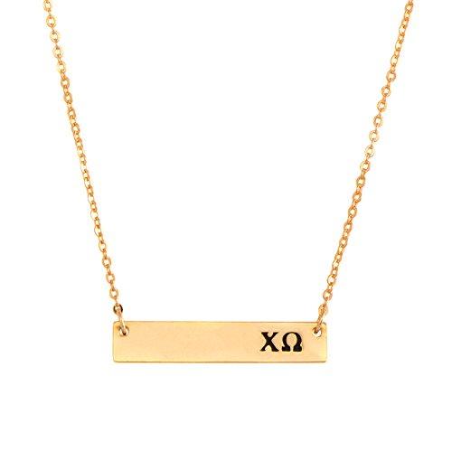 Desert Cactus Chi Omega 24K Gold Plated Horizontal Bar Necklace Greek Sorority Letter Adjustable Chain chi o