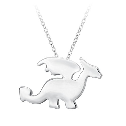 SENFAI Newest Dragon with Wings Animal Shaped Charm Necklace in Gold and Silver Handmade Jewelry (Sliver) -