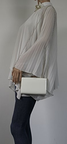 Party White Leather Womens Clutch Ladies Oregon Bag Swankyswans Prom Box Faux Patent RXPHwSY