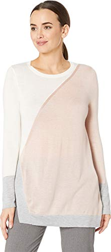 (Vince Camuto Womens Long Sleeve Color Block Side Split Crew Neck Sweater Rose Buff MD)