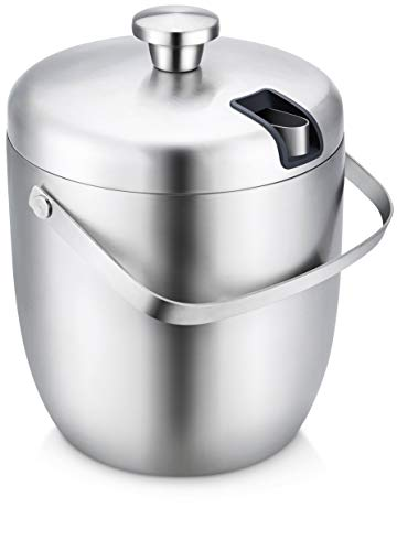 ELITRA Home Stainless Steel Ice Bucket & Wine Chiller with Tongs & Lid – Double Wall Insulated, 3 Liter – Silver