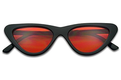 Vintage Slim Color Tinted Flat Lens Retro Clout Goggles Cat Eye Sun Glasses (Black, - Cat Sunglasses Retro Slim Eye