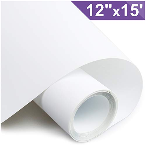 ARHIKY Heat Transfer Vinyl HTV for T-Shirts 12 Inches by 15 Feet Rolls(White) -