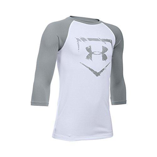 Under Armour Boys' Baseball ¾ Sleeve, White/Baseball Gray, Youth Small