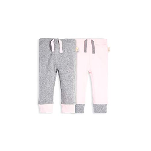 Burt's Bees Baby Baby Pants, Set of 2 Lightweight Knit Infant Bottoms, Blossom/Grey 3-6 ()