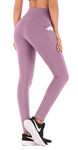 IUGA High Waist Yoga Pants with Pockets, Tummy Control, Workout Pants for Women 4 Way Stretch Yoga Leggings with Pockets (Begonia Pink, Large)