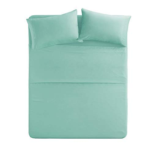 Comfort Spaces - Hypoallergenic Microfiber bed sheet Set - 6 Piece - Queen Size - Wrinkle, Fade, Stain proof - Aqua Blue - involves Flat Sheet, Fitted bed sheet and 4 Pillow Cases