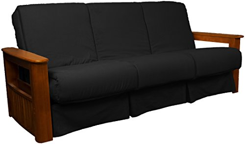 Chicago Storage Arm Style Perfect Sit & Sleep Pocketed Coil Inner Spring Pillow Top Sofa Sleeper Bed, Queen-size, Walnut Arm Finish, Microfiber Suede Ebony Black - Sofa Ebony