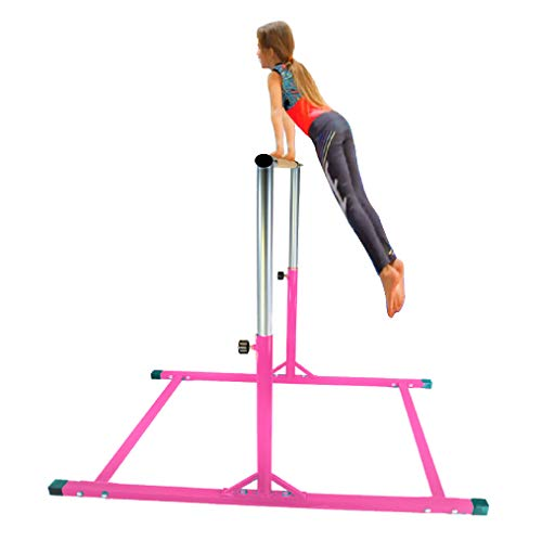 X-Factor 5 Ft Horizontal Bar Athletic Teens Adjustable Gymnastics Children's & Junior Training Kip Bars Pink