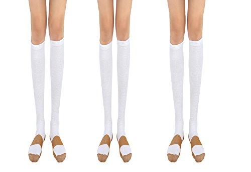 Copper Compression Socks 20-30mmHg Graduated Men Women (3 Pairs) BLK White Nude (White, - Free Code Delivery M&s