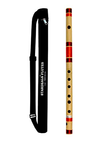 STARDEALS Professional Flutes E Natural Medium Bamboo Flute Bansuri Size 15 Inch With Free Carry Bag (Natural Brown)