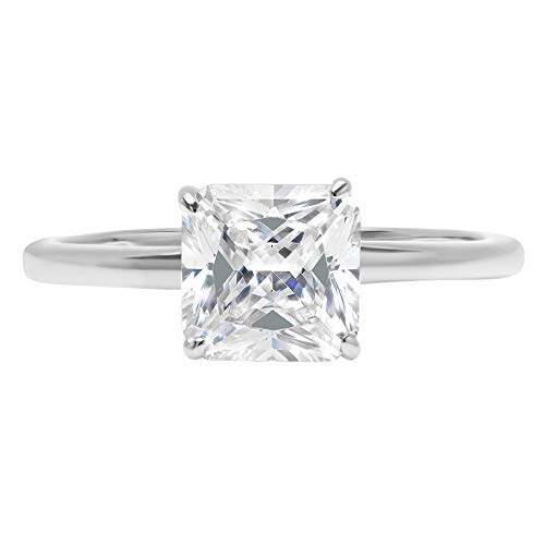 1.4ct Brilliant Asscher Cut Solitaire Highest Quality Lab Created White Sapphire Ideal VVS1 D 4-Prong Engagement Wedding Bridal Promise Anniversary Ring Solid Real 14k White Gold for Women, SZ 6.25