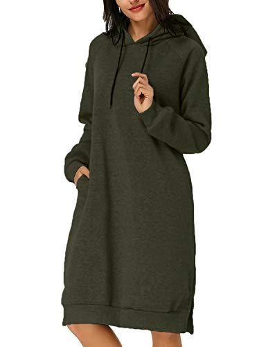 Kidsform Women Causal Hoodie Maxi Dress Solid Pullover Loose Sweater Hoodie Tops Sweatshirt Long Tops Army Green M