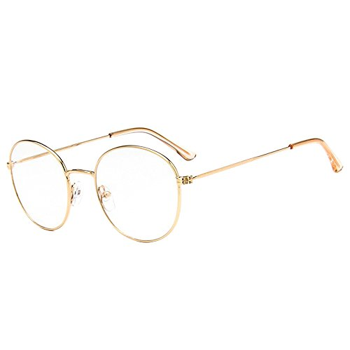 Unisex SLD9728 Classic Metal Thin Frame Rim Round Eyeglasses Small Size (gold, - Glasses With Gold Rim