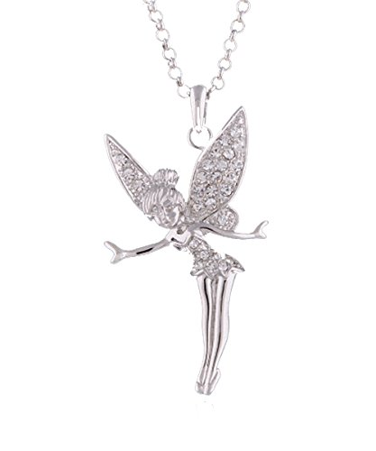 - Flotera Disney 8K Silver Tone Swarovski Elements Crystal Angel Peter Pan TINKERBELL Fairy Necklace (White Gold)