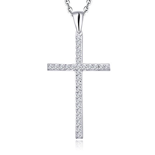 (YL 14K White Gold Cross Diamond Pendant Necklace (0.14 Carats),H-I Color SI1 Clarity)