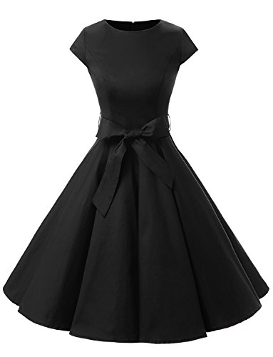 Dressystar DS1956 Women Vintage 1950s Retro Rockabilly Prom Dresses Cap-sleeve XS Black - Pin Up Girl Costumes 40s