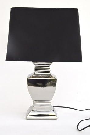 Tischlampe Tischleuchte Nachttischlampe  Keramik silver plated Neu
