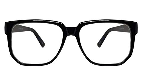Big Square Horn Rim Eyeglasses Nerd Spectacles Clear Lens Classic Geek Glasses (BLACK 72682, clear)]()