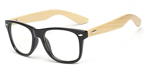 Outray Retro 80's Wooden Frame Clear Lens Glasses 2038c8 - Frames Glasses Wooden