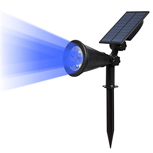 T-SUN Solar LED Outdoor Spotlight Wall Light, IP65 Waterproof,Auto-on At Night/Auto-off By Day,180°angle Adjustable for Tree, Patio, Yard, Garden, Driveway, Stairs, Pool Area (Blue) (1)