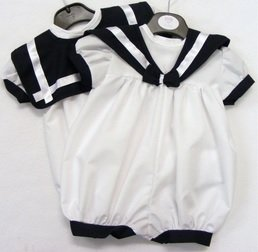 af1a3972a27b Baby Boys Traditional White Navy Romper Sailor Suit (3-6 months ...