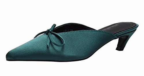 Women's Kitten Heel Slippers Bow Knot Heeled Sandals Slip on Slingback Pointed Toe Dress Shoes Green Satin