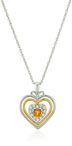 Citrine Lab - Sterling Silver Hearts and 14k Yellow Gold Plated Citrine and Lab Created White Sapphire with Rope Chain Pendant Necklace, 18