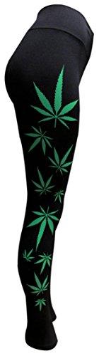 AS VEGAS Black Weed Leggings (Black/Green) ()