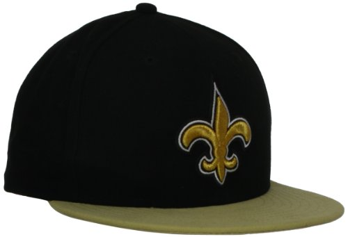 NFL New Orleans Saints Black and Team Color 59Fifty Fitted Cap, Black/Gold, 7 3/8
