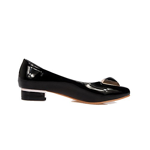AllhqFashion Damen Lackleder Spitz Zehe Ziehen auf Rein Pumps Schuhe Schwarz