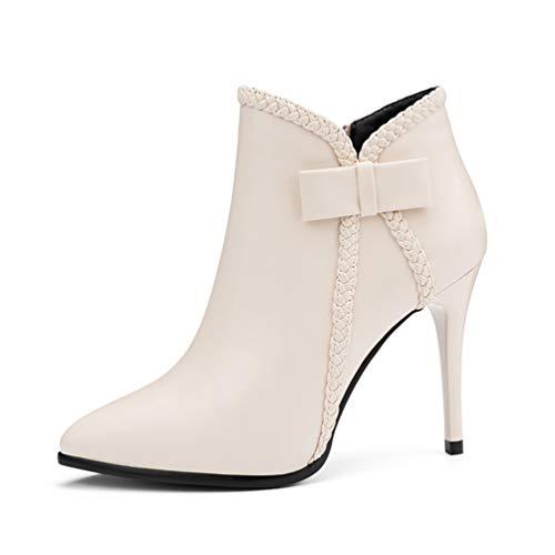Bottes Chaussures Femmes Élégant Hauts Ankle Blanc Pointu Talons XBKqKd