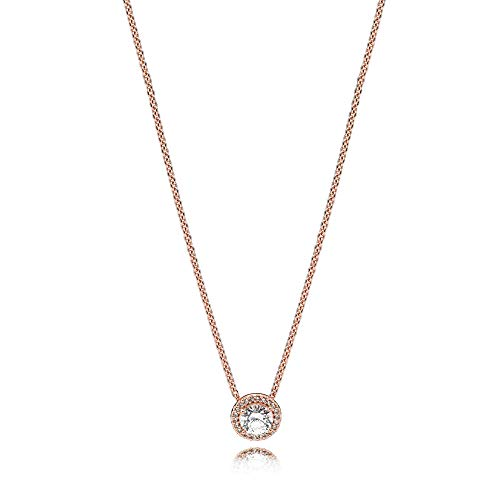 PANDORA Classic Elegance Necklace, PANDORA Rose & Clear CZ 386240CZ-45 cm 17.7 in