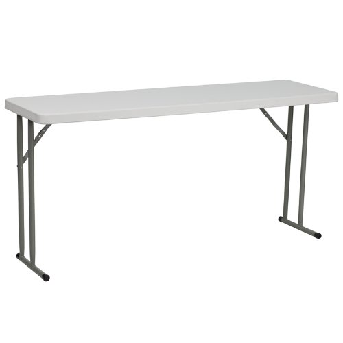 Flash Furniture 18''W x 60''L Granite White Plastic Folding Training Table [RB-1860-GG]