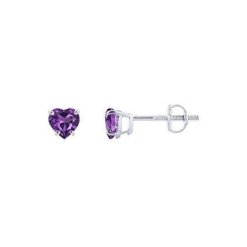 (Diamond Scotch Jewelry 14K White Gold Over Screw Back 5mm 0.94 Ct Simulated Amethyst Heart Shape Solitaire Stud Earrings for Women)