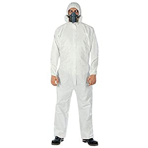 LXDART Disposable Protective Coverall with Hood and Elastic Cuffs White SMS Full Body Isolation Suit Safety Work Gowns…