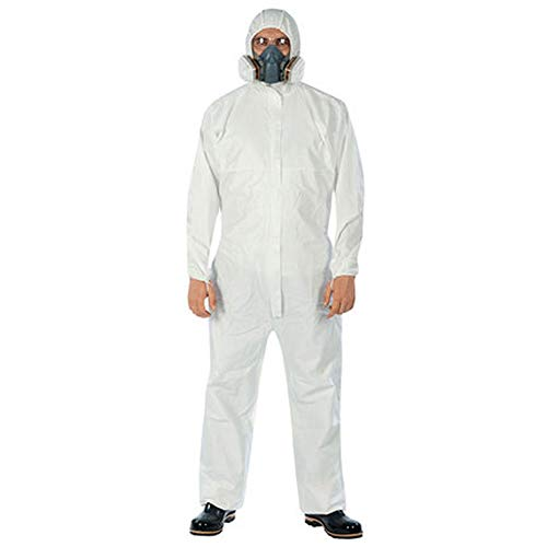 LXDART Disposable Protective Coverall with Hood and Elastic Cuffs White SMS Full Body Isolation Suit Safety Work Gowns Clothing (X-Large, 1pc)