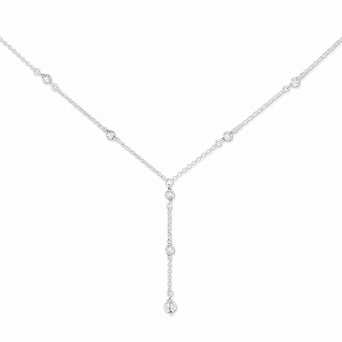 Sterling Silver Polished & Dia-Cut Fancy Drop - Necklace Fancy Dia