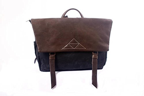 Black Beeswax Waterproof Canvas and Brown Leather Large Messenger Backpack, Unique Laptop Bag