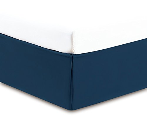 Gold Crown Collection Solid QUEEN NAVY BLUE BED SKIRT 1500 Series High Thread Count 14 inch fall 95 GSM Microfiber dust ruffle allows for natural draping, Silky Soft & Wrinkle Free.