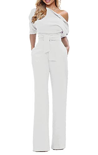 - Grace Elbe Women's Wide Leg Slanted One Shoulder Belted Jumpsuits White X-Large