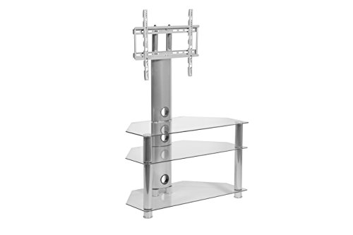 MMT Glass TV Stand Cantilever - Fits LED Tvs, LCD Tvs, And Plasma Flat Panel Tvs From 26 Inch - 55 Inch - Sturdy, Easy To Assemble - Aluminum Silver Finish - Three Glass Shelves - Cable Management (Stand For Jvc Base 32 Tv)