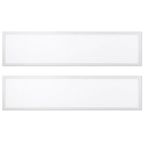 (Worldwide Lighting FPL14-4000-32W-2PC 1x4 FT LED Flat Panel Light, 32W 4000K Edge-Lit Light Troffer Fixture, 0-10V Dimmable, 4160 Lumens, 2)