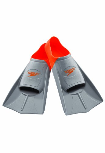 Speedo Short Blade Swim Training Fins, Orange, XX-Small