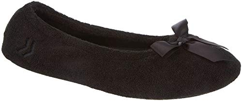 Isotoner Women's Terry Ballerina Slipper, Black, Large/8-9 M US A96008BLKLG