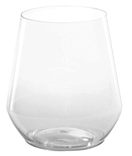 WNA Reserv 4 Count Stemless Plastic Wine Glasses, 12 oz, Clear